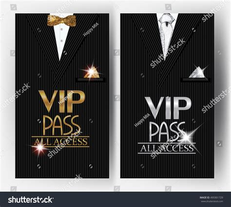 vip pass vip pass cards mens suit on stock vector 495901729