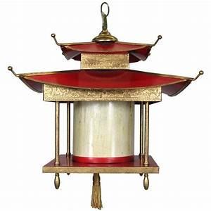 Large Red Pagoda Lantern at 1stdibs
