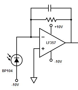 Voltage Saturated Transimpedance Amplifier Issue