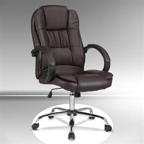 high back brown leather executive office chair swivel