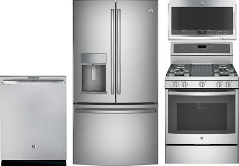 ge profile  piece kitchen package  pgbzejss gas range pyekskss refrigerator