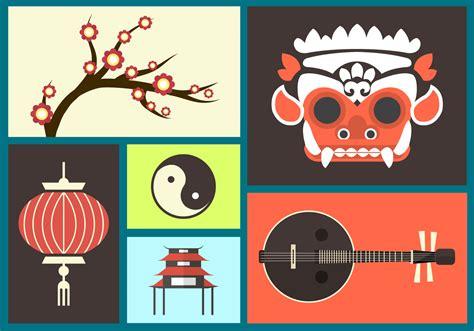 set  bali flat icons   vector art stock