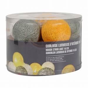 Guirlande Boule Lumineuse : guirlande lumineuse boule kimy coloris jaune gris guirlande 4murs ~ Teatrodelosmanantiales.com Idées de Décoration
