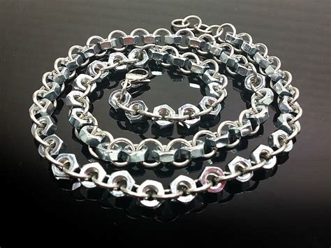 hex nut chain necklace s chain necklace stainless