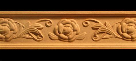 frieze camellia flower  scroll decorative carved wood