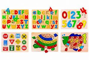 preschool puzzles letters numbers and signs set of 6 With number and letter puzzles