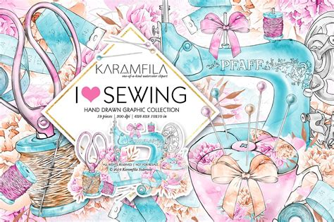 Sewing Clip Sewing Clipart Illustrations Creative Market