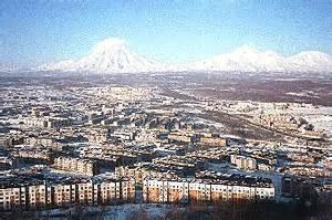 Active volcanoes over the town of Petropavlovsk-Kamchatsky ...