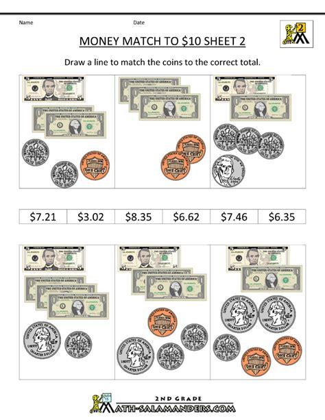 money math worksheets money match to 10 dollars 2