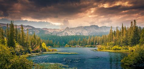 nature, Landscape, Lake, Forest, Mountains, Clouds, Far ...
