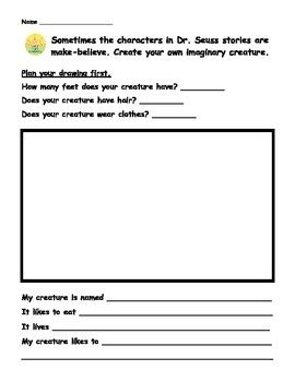 dr seuss create write about your own imaginary creature by lower elementary