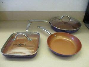 simply ming ceramic  stick cookware set  piece purple read ebay
