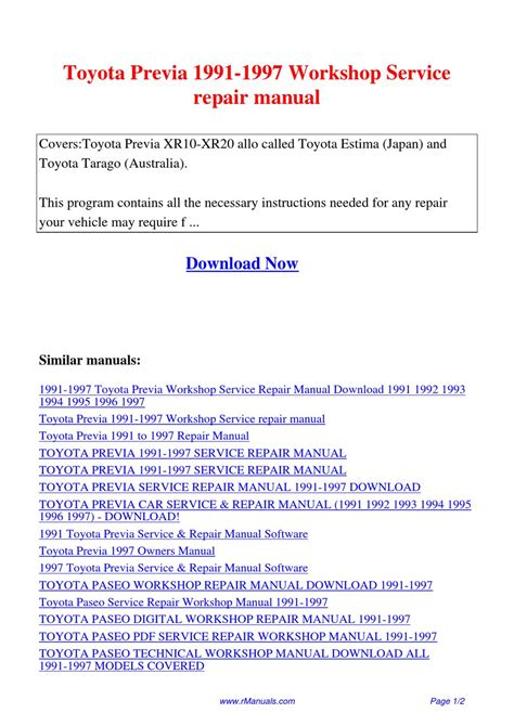 car maintenance manuals 1997 toyota previa user handbook toyota previa 1991 1997 workshop service repair manual pdf by david zhang issuu