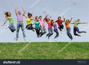Happy Smiling Diverse Group Of Jumping Teenager People ...