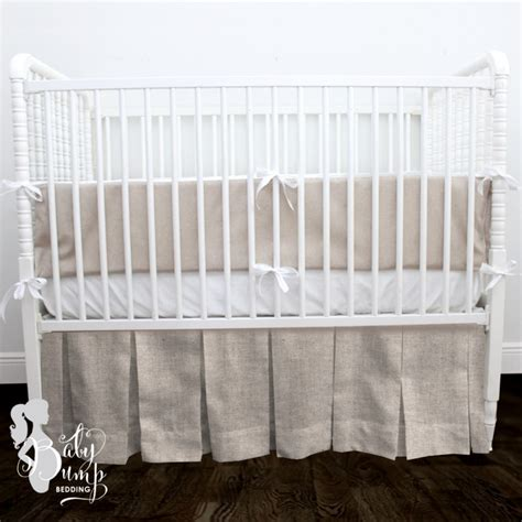 Tan + White Linen Gender Neutral Baby Crib Bedding