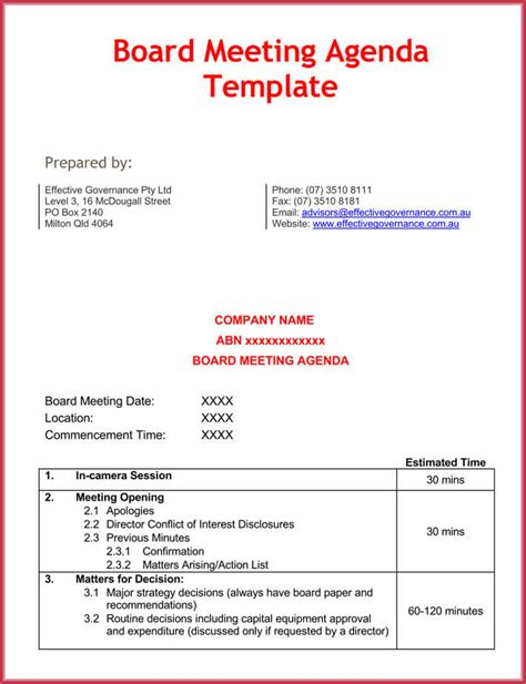 effective meeting agenda templates   samples