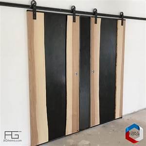 porte coulissante genus en bois live edge verre et acier With porte de garage et porte coulissante en bois massif