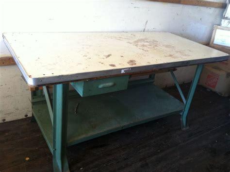 """Vintage Industrial Steel Work Table 73"""" X 35"""