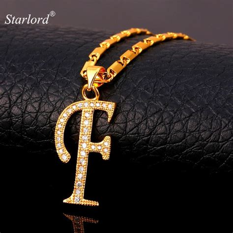 gold necklace for starlord initial f letter pendants necklaces