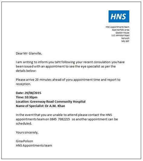 pin sample appointment scheduling letter wa  successor