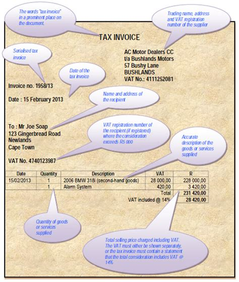 legal requirements   tax invoice  south