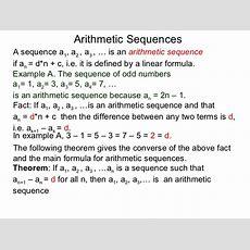 52 Arithmetic Sequences