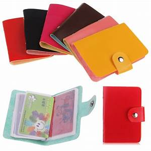 24 cards leather pocket business id credit card holder With business card holder for purse