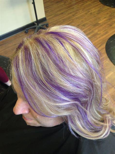 blonde hair  purple highlights pravana violet