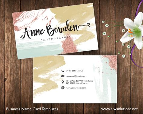 create   business card glitter water color