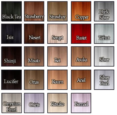 Hair Colours List by Skysims Hair 74 In Adara S Io S Lilith S