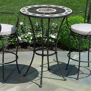 Small elegant peerless round table and stools bar height for Small round wicker patio set