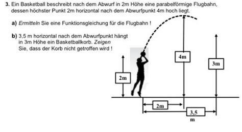 basketball abwurf   hoehe flugbahn parabel aufgabe