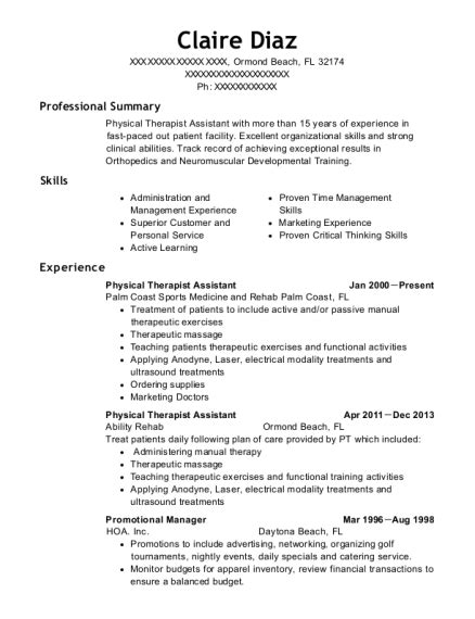 infinity rehab physical therapist assistant resume sample