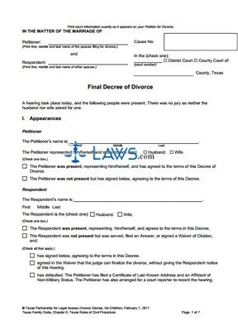 texas divorce forms without child form final decree of divorce without children texas