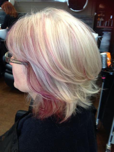 natural grey hair    blonde foils   purple