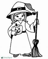 Coloring Halloween Pages Witch sketch template