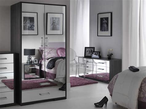 Bedroom Ideas White Polished Wood Mirrored Bedroom