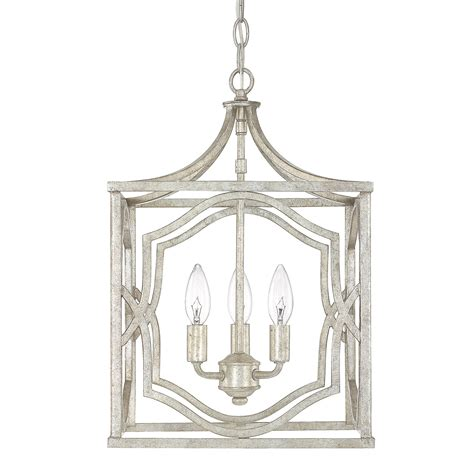 blakely antique silver three light foyer fixture capital
