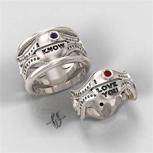 Custom his and hers star wars themed wedding bands for Star wars wedding rings