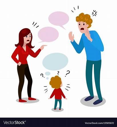 Parents Cartoon Child Quarrel Vector