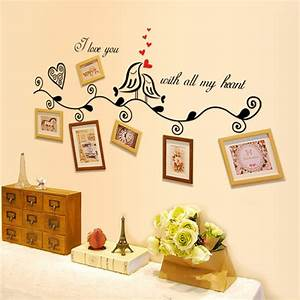 buy love birds photo frame art removable wall sticker home With kitchen colors with white cabinets with how to remove sticker residue from fabric