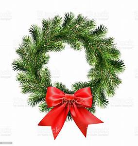 Christmas, Wreath, From, Pine, Twigs, And, Red, Ribbon, Bow, Stock, Photo, -, Download, Image, Now