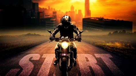 wallpaper biker motorcycle ride start night