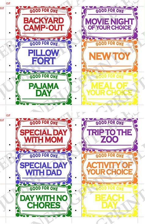 printable kids coupon book kids valentine reward coupons