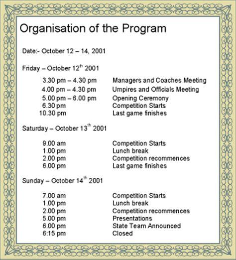 programentertainment event management developing the event programme