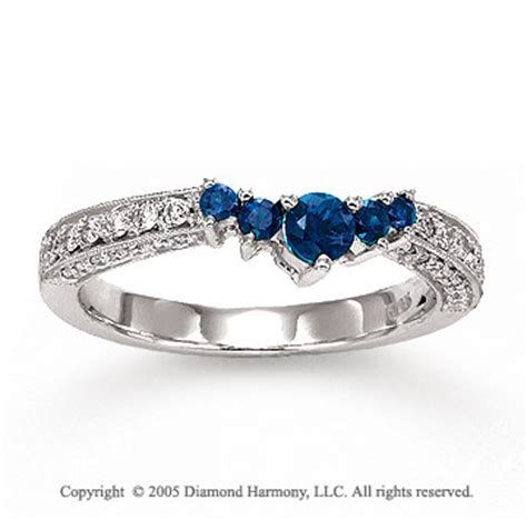 white gold blue sapphire prong diamond wedding ring