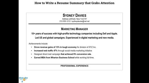 To Write A Resume by How To Write A Resume Summary