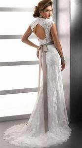 cap sleeve sheath popular tulle and lace sweetheart sexy With lace keyhole wedding dress