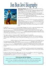 English Worksheet Jon Bon Jovi Biography