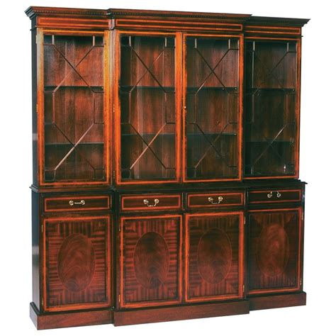Bookcase With Glass Shelves by Mahogany Oval Inlaid 4 Door Breakfront Bookcase With Glass